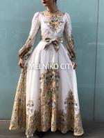 Brand Long Sleeved Freja Paisley Print Maxi Length Silk dress