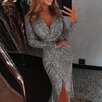 Deep V Sequins Dress Sexy Nightclub Dress Wrap Ruched