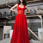 New Floor Maxi Red Bandage Dress Halter Bodycon