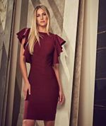 Elegant O Neck Long Sleeve Ruffles Cut Out Wine Red Bandage Dress