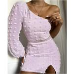 fashion fairy pink purple dress sexy oblique shoulder