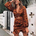 Short Dress Thin V-neck Leopard Print Long Sleeve