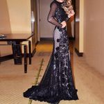 Party Dress Black Sexy Backless Foral Lace Patchwork
