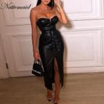Black PU Leather Backless Sexy Dress  Strapless