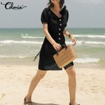 Beach Vintage Shirt Mini Dress Short Sleeve Beach