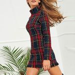 Plaid Yarn-dyed Sexy Dress Long Sleeve Turtleneck