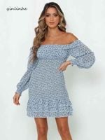 Blue Off Shoulder Dress Long Sleeve Transparent Slash Neck