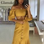 Two-piece suit off shoulder yellow mermaid dress