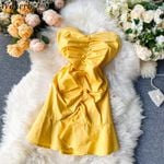 Solid Color Bodycon Off Shoulder Pleated Slim Dresses