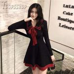 Long Sleeve Dress Bowknot Decor Slim Female Dresses