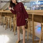 Casual Chic Double-breasted Dress O-neck Full Sleeve