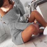 Off Shoulder Short Long Sleeve Sweater Knitted Mini Dresses