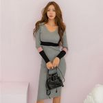 Drop shipping Sexy Skinny Hit Color Sweater Dress