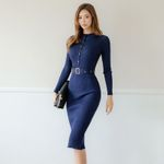 Full Sleeve Sashes Stretch Vestidos Knee-length Sweater Dress