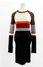 Knitted Cotton O-neck Spliced Sweater Dress