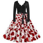 Plus Size Valentines Day Dress Vintage Long Sleeve