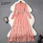 High Fashion Designers Long Sleeve Beading Neck Dress