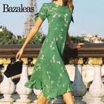 Retro Green Floral Print Midi Dress Chic Ruffles Dresses