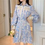 Hollow Out Lace Patchwork Lantern Sleeve Dress