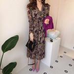 vintage new Chiffon Floral Printing Midi Dress