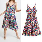 colorful dot print mid calf dress sleeveless loose