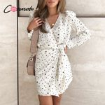 polka dot wrap casual dresses white elgant long sleeve dress