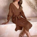 Sexy V-neck Knitted Skirt Suits Batwing Sleeve Ladies