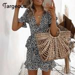 Casaul Wrap Lace up Short Sleeve Mini Dress