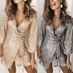 Sequined Dress Deep V Wrap Glitter Dress Ruched