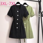 large loose casual short sleeve button V neck dresses