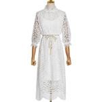 New Designer Women Dress White Black Hollow-out