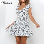 Floral Print Cotton White Mini Day Dress
