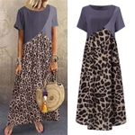 Printed Leopard Dress Vintage Short Sleeve