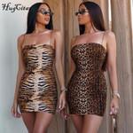 leopard print slash neck sleeveless tube slip mini dress