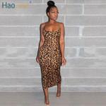 Sexy Cheetah Leopard Print Midi Dress