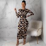 Leopard Long Sleeve Dress Evening Party Dresses