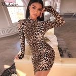 long sleeve high neck leopard print sexy bodycon mini dress
