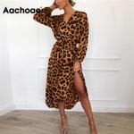 Vintage Long Beach Dress Loose Long Sleeve Deep V-neck