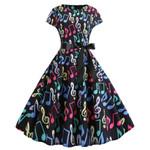 New Music Note Print Vintage Dress Short Sleeve