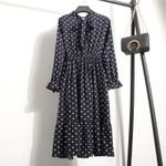 Casual Chiffon Shirt Dress Office Plaid Vintage Dresses
