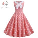 Plus Size Polka Dot Vintage Dress Pink Rockabilly