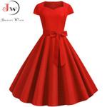 Vintage Dress Robe Femme Women Solid Red Black Square