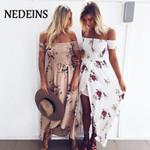 Sexy floral Dress Summer Split  Maxi Beach Sundress