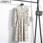 High Elastic Waist Corduroy Vintage Dress A-line