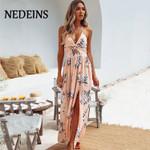 Long Dress Bohemian Beach Dress Floral Halter Dress