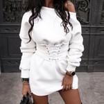 Solid Long Sleeve Dresses Casual Loose Bandage Dress