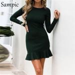 long sleeve bodycon o neck party dress elegant