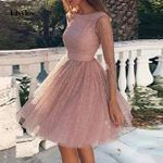 Elegant O-Neck Party Dress Sexy Backless Lace A-Line