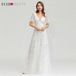 White Lace Wedding Dresses Ever Pretty A-Line V-Neck