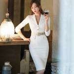 White Blazer Dress Office Lady Half Sleeve Knee-Length